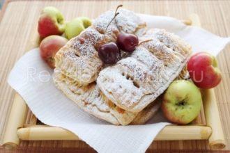 Слойки с яблоками из готового слоеного теста в духовке