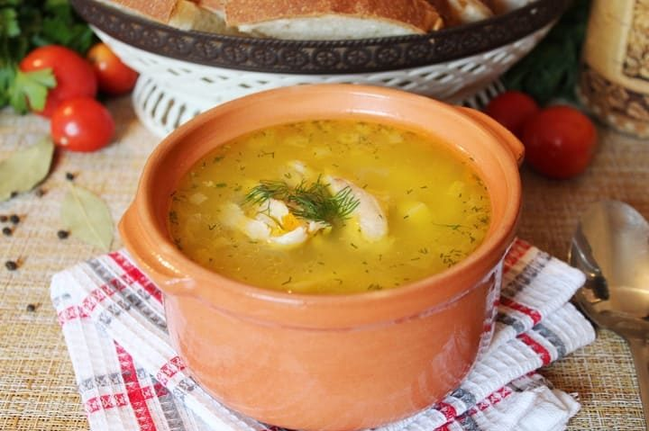 Рисовый суп с курицей и картошкой