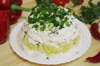 Салат «Мимоза» с горбушей консервированной классический рецепт