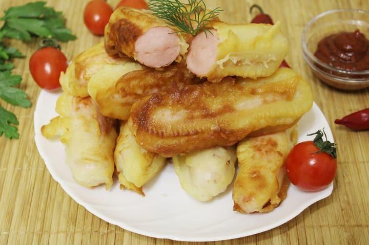 Сосиски в кляре жареные на сковороде в домашних условиях