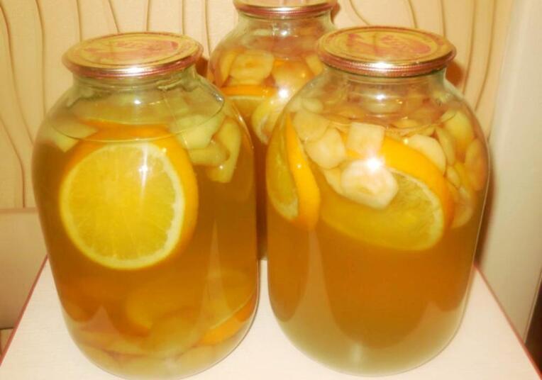 Компот из яблок с апельсином на зиму