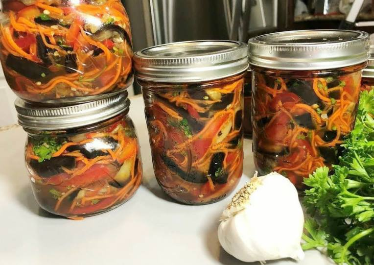 Корейский салат из баклажанов на зиму