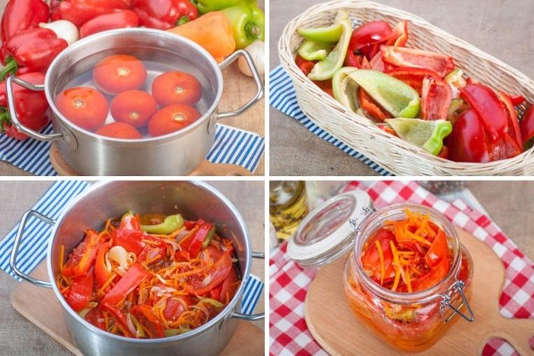 Лечо с перчиком, томатом и морковкой